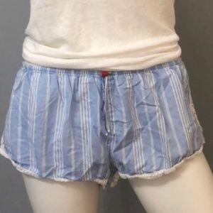 Victorias Secret Blue and White Pajama Shorts, M